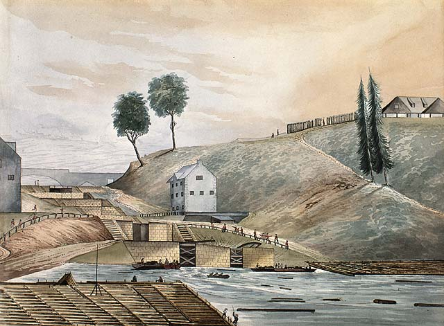 Entrance of the Rideau Canal in 1839. In 1826, eight locks were constructed by the Royal Engineers with labour from Irish and French settlers. The building in the foreground is today called the Bytown Museum. On the right is Parliament Hill at the time named