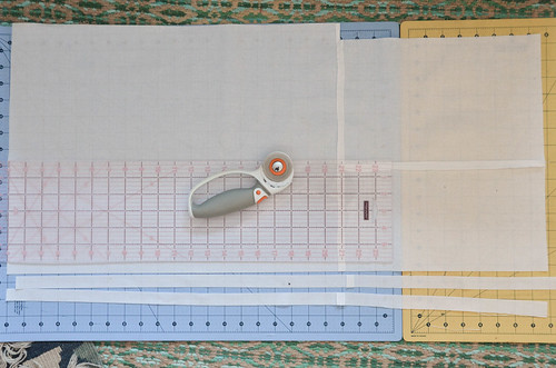 "Cut 3/4"" strips (sew together pieces to make long enough, as needed)."