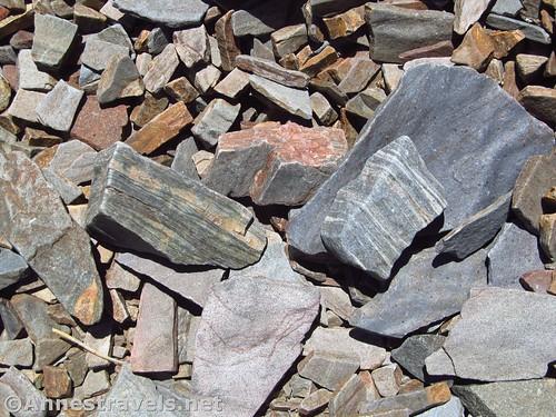 Striped rocks on the slopes of Bennett Peak in Death Valley National Park, California
