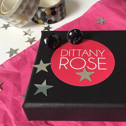 Constellation Paper and Resin Earrings by Dittany Rose