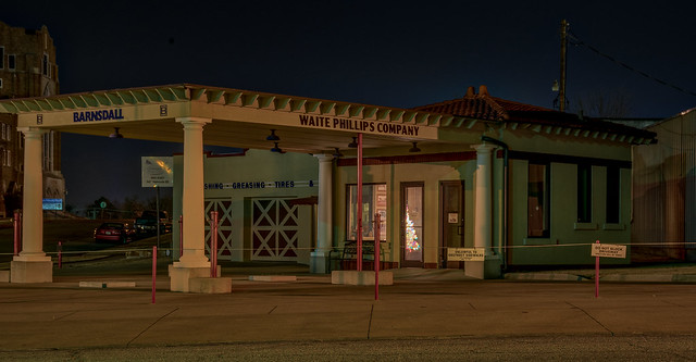 Waite Phillips Station at night