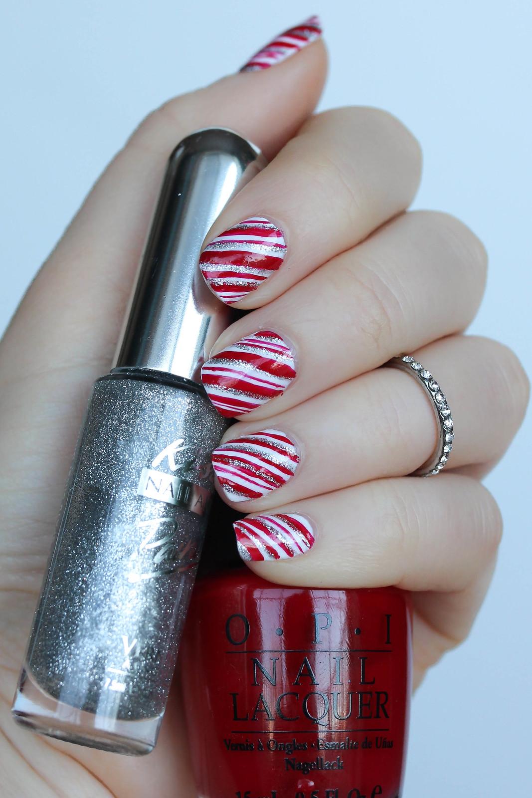 Candy Cane Nail Art Kiss Nail Art Silver Glitter Polish OPI Red Nail Lacquer