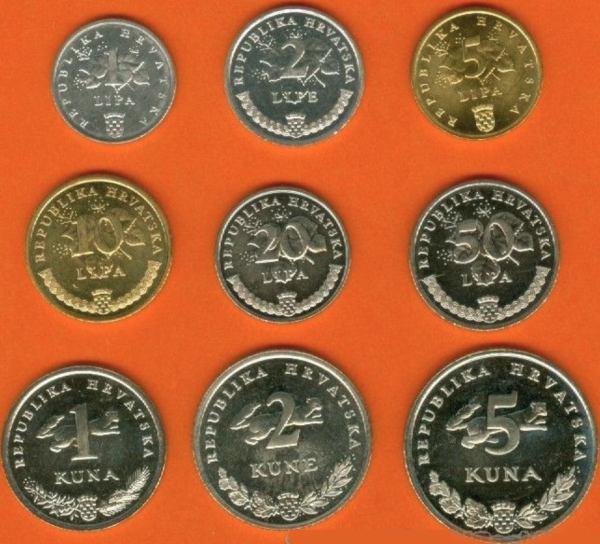 Sada mincí Chorvátsko 1-2-5-10-20-50 Lipa 1-2-5 Kuna 2001-9