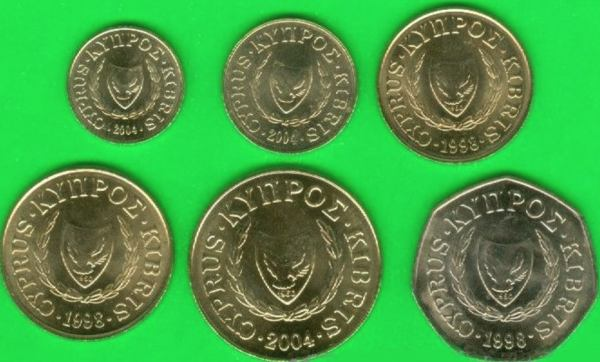 Sada mincí Cyprus 1-2-5-10-20-50 Cents 1998-2004