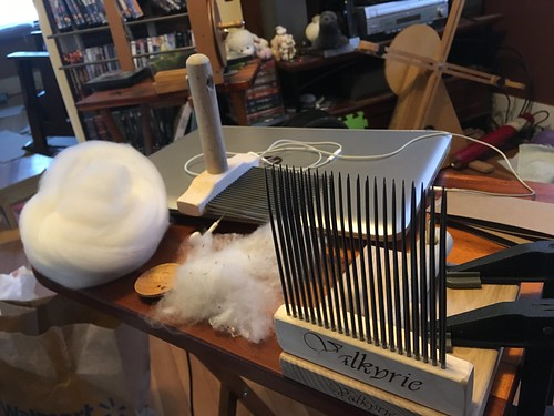 Australian merino (17.4 micron) combed on Vakyrie extra-fine combs. 12g of top, 1g of waste.