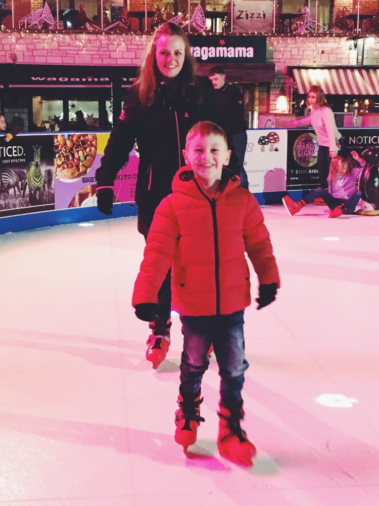 Big smiles skating in the square