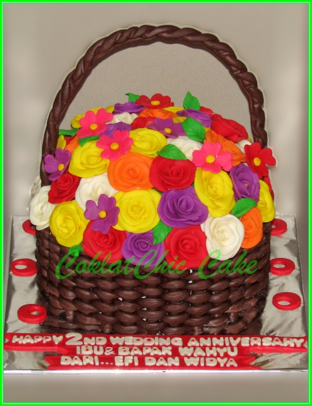 Anniversary Cake karangan bunga Ibu&Bapak Wahyu 15cm