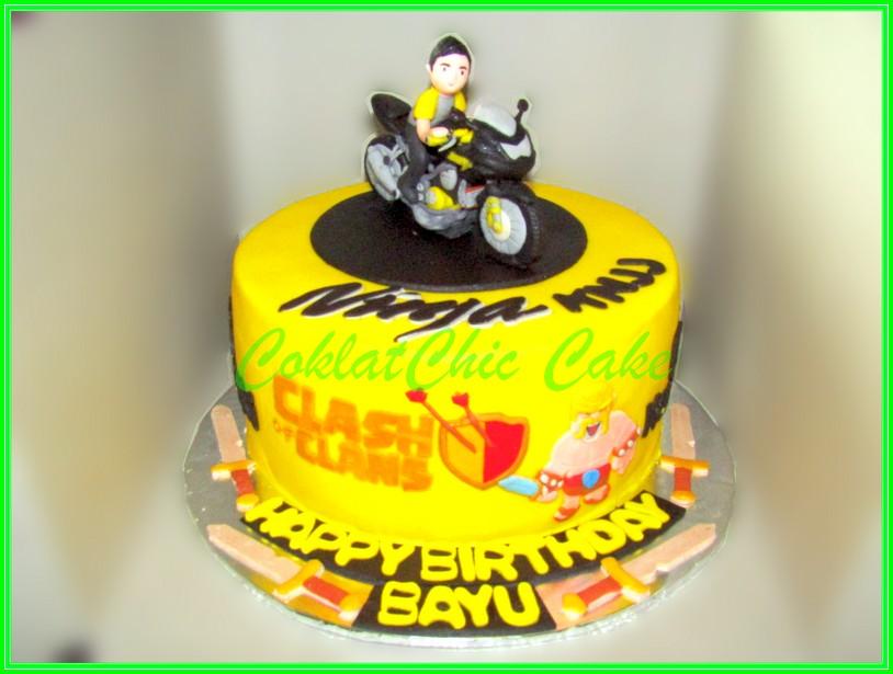 Cake Motor Kawasaki Ninja & COC BAYU 18cm