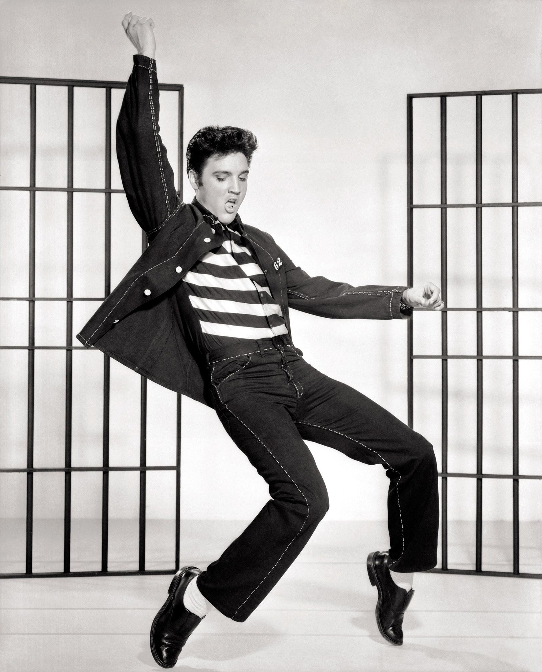Publicity still of Elvis Presley in Jailhouse Rock.
