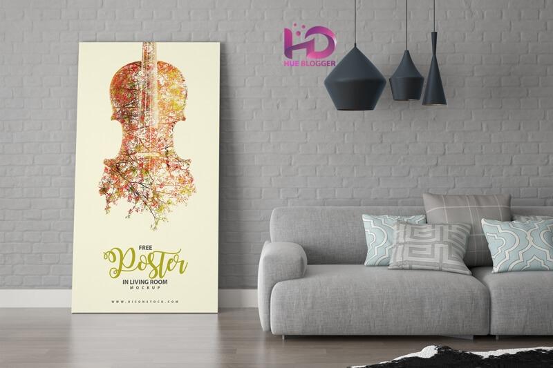 Mockup Poster trong phòng khách miễn phí