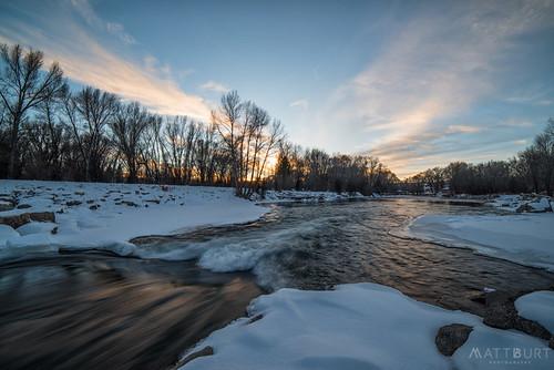 flow gunnisonriver ice reflection snow sunset water whitewaterpark winter