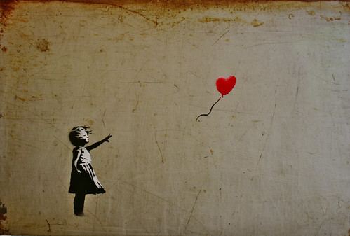 Girl with red balloon. Banksy.
