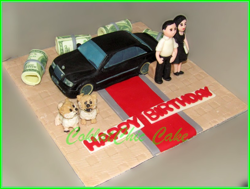 Cake Couple with Mercy Baby Benz &Doggy 15cm