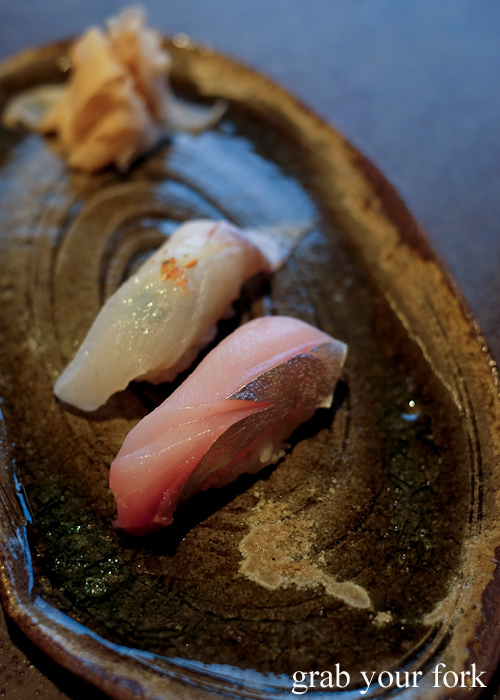 Trevally and sand whiting nigiri sushi, part of our omakase by Chef Ryuichi Yoshii at Fujisaki by Lotus at Barangaroo in Sydney