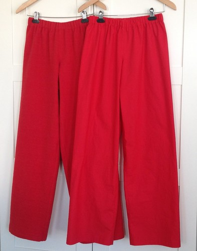 Red PJs and lounge pants