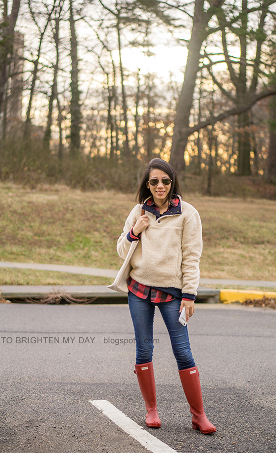 sherpa pullover jacket, buffalo checked shirt, canvas tote, red rain boots