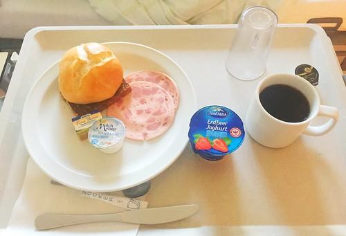 Bun, whole grain bread, sausage, yoghurt & coffee / Brötchen, Vollkornbrot Wurst, Joghurt & Kaffee