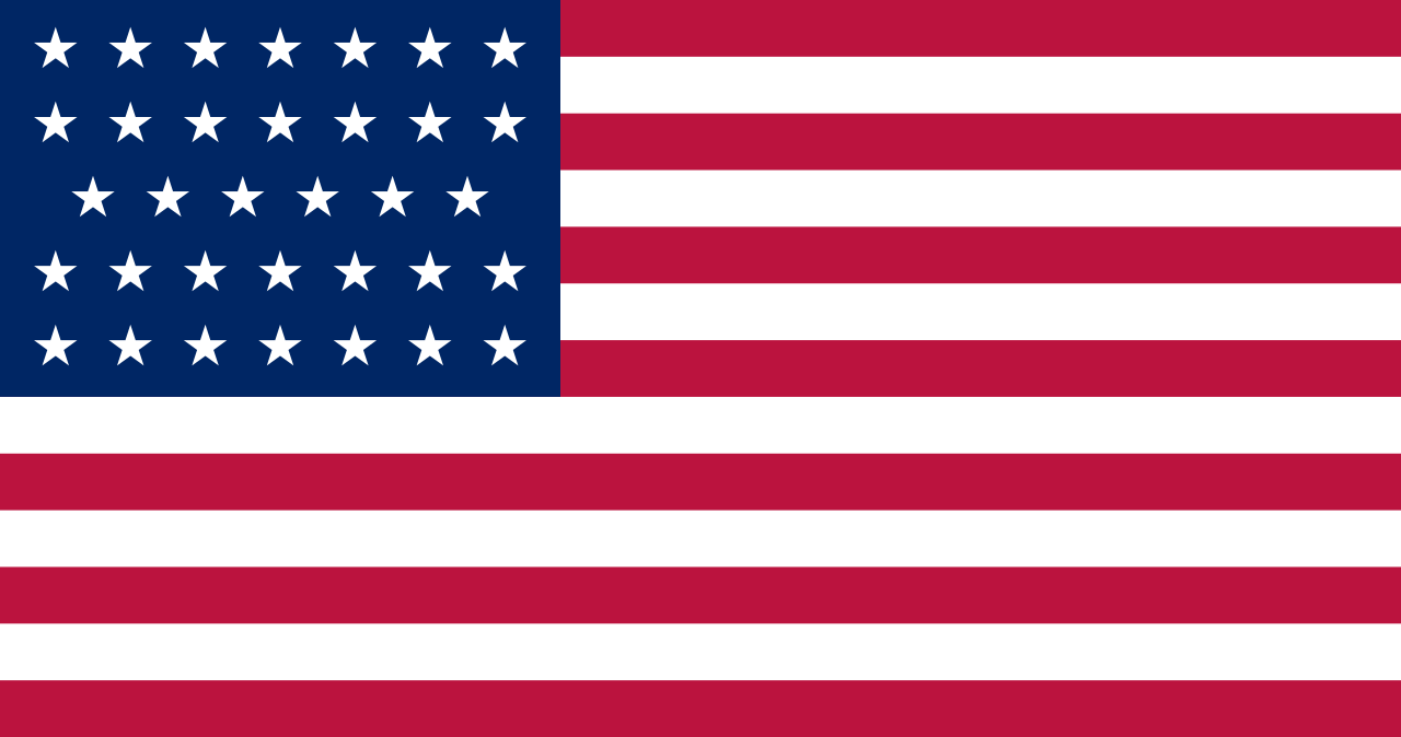 United States flag in use between July 4, 1861 and July 3, 1863.
