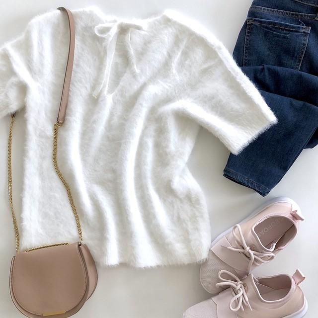 LOFT Fuzzy Tie Back Sweater