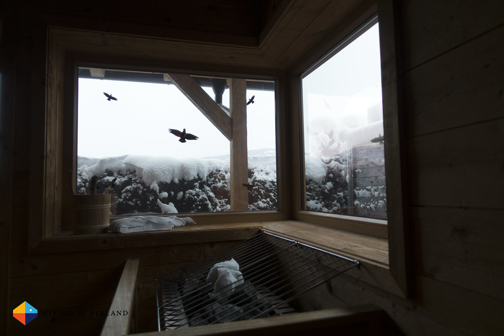 Snowy sauna
