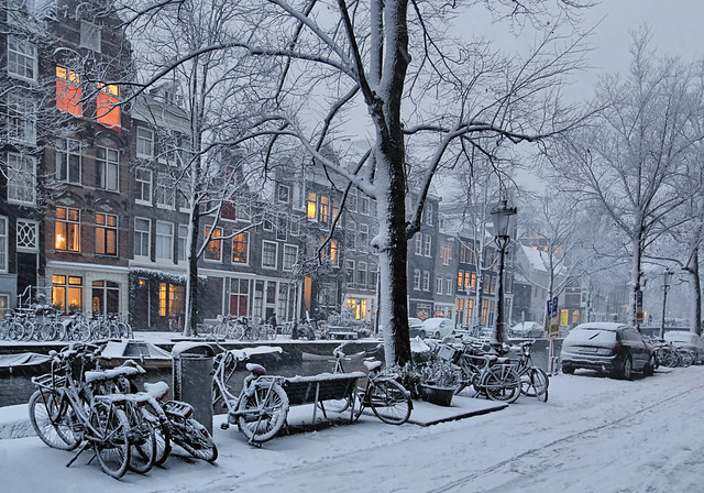 On a magic winter day most people stay inside keep warm and drink hot chocolate
