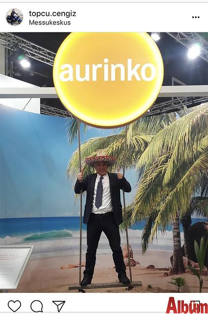 Exotic Tourism sahibi Cengiz Topçu, Finlandiya Helsinki'deki turizm fuarında Aurinko standında.