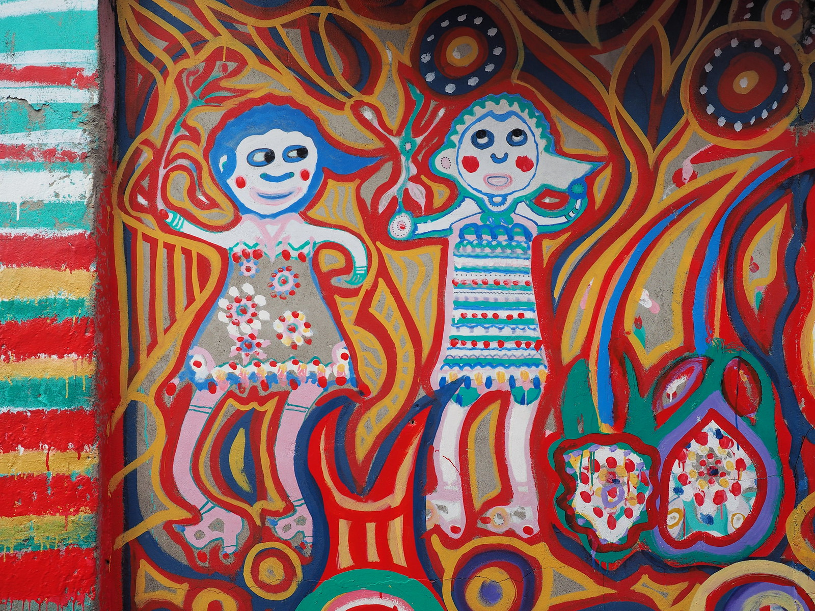 A painting of a couple at the Rainbow Villate