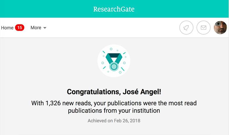 Soy el más leído (en ResearchGate) en la Universidad de Zaragoza