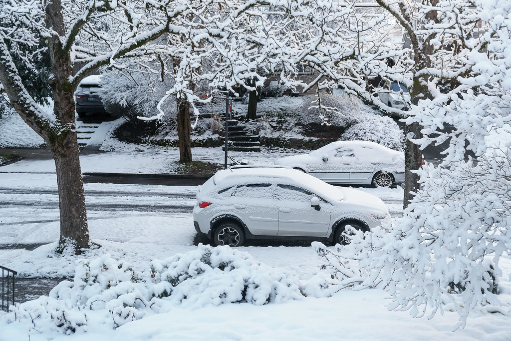 A thin layer of snow covers the Irvington neighborhood in Portland, Oregon