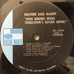 BROTHER JACK MCDUFF:WHO KNOWS WHAT TOMORROW'S GONNA BRING?(LABEL SIDE-B)