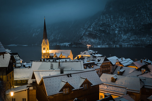 View Over Hallstatt in Blue Hour in Winter from Toni Hoffmann