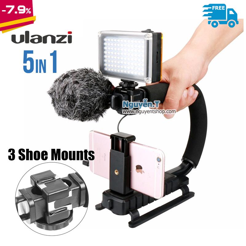 Bộ Kit U-Grip 5in1 Triple 3 Shoe Mounts Ulanzi chống rung quay phim Điện thoại GoPro