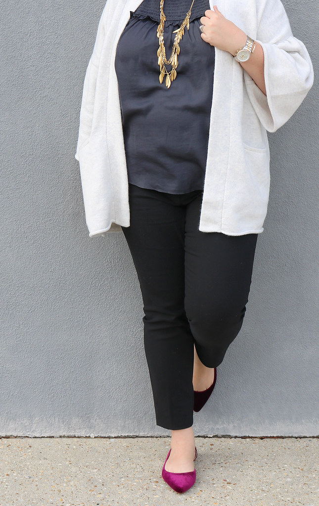 gray bell sleeve cardigan, gray shell, black pencil pants, garnet velvet flats 5