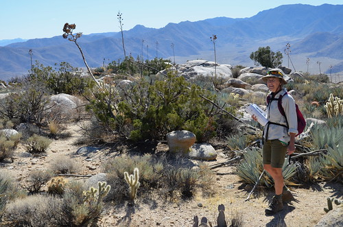 Borrego Springs - Linda with book on Ghost Mountain