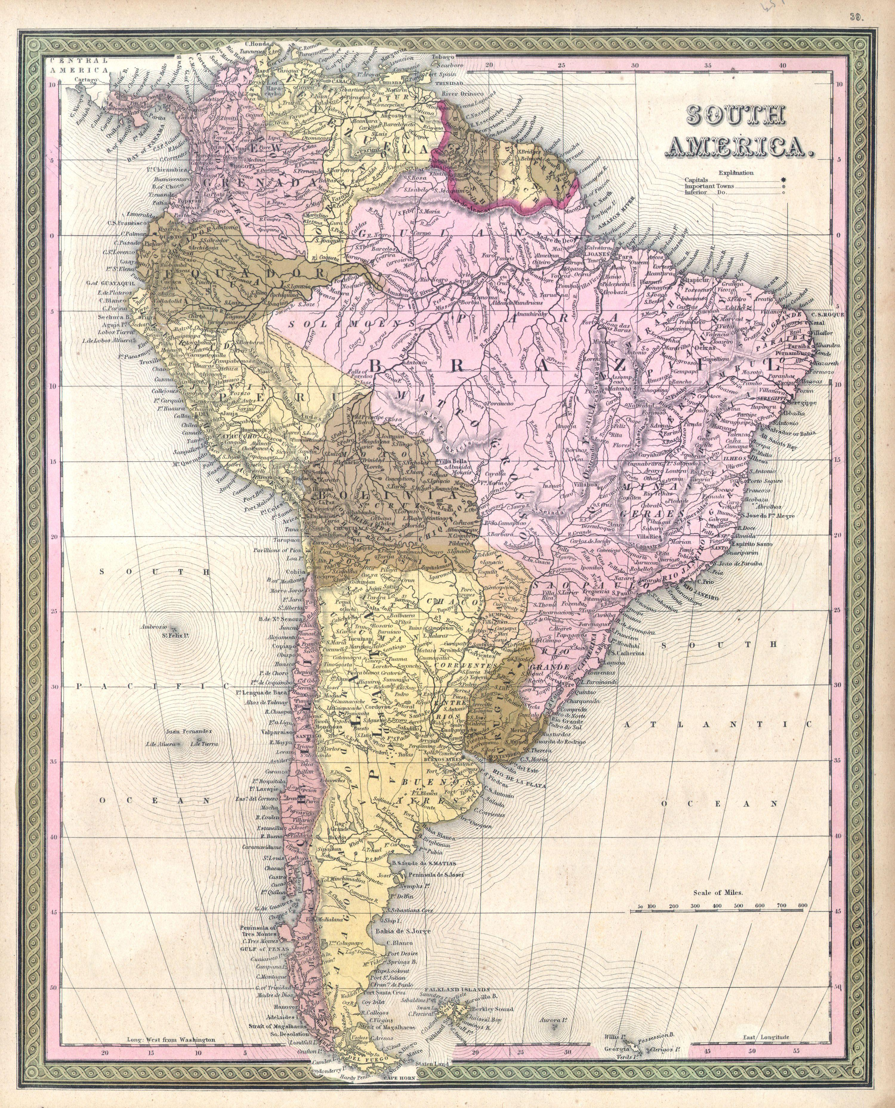 Map of South America, published 1850