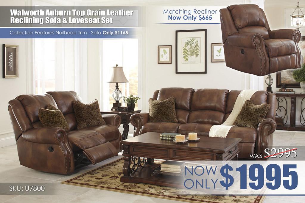 Walworth Top Grain Leather Reclining Living Set U78001-87-86-T869-OPEN