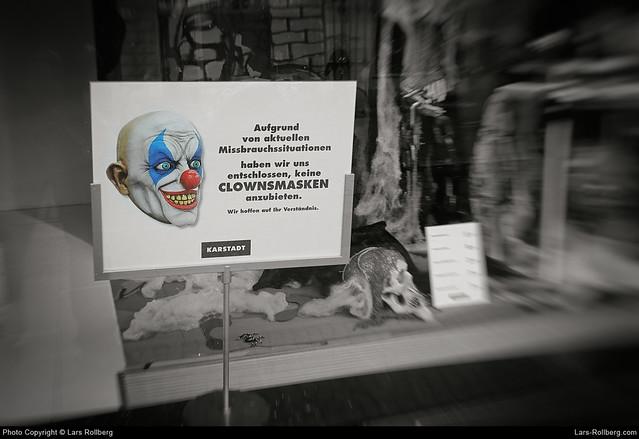 Clown masks, Karstadt, Potsdam, Germany