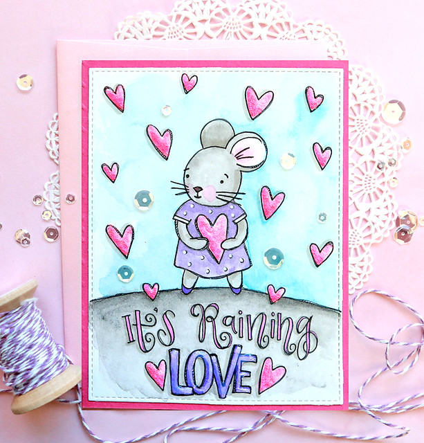 valentines watercolor card 1