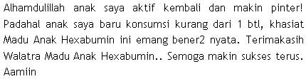 Testimoni Madu Hexabumin