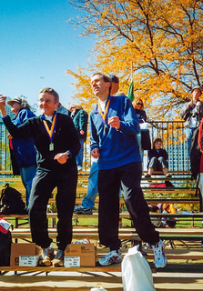 Tribüne im Ziel Chicago Marathon