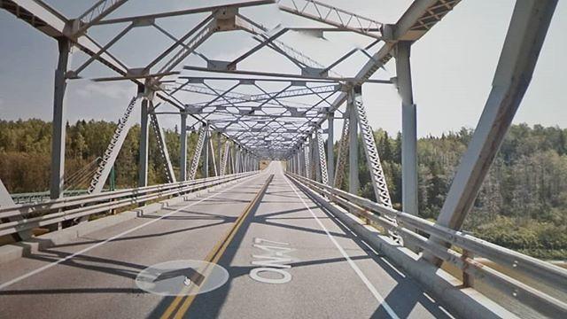 Crossing Pic River. #ridingthroughwalls #xcanadabikeride #googlestreetview #ontario