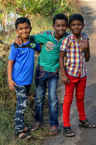 India - Vypin Island - three friendly young boys