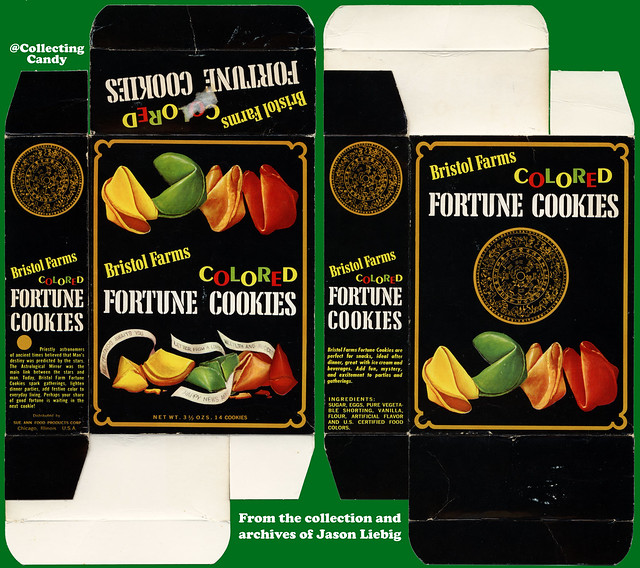 Sue Ann Food Products - Bristol Farms - Colored Fortune Cookies - 3 1/2 oz product package box - 1960's