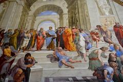 Ciudad del Vaticano. Estancia de La Signatura. Detalle de la Escuela de Atenas. Rafael