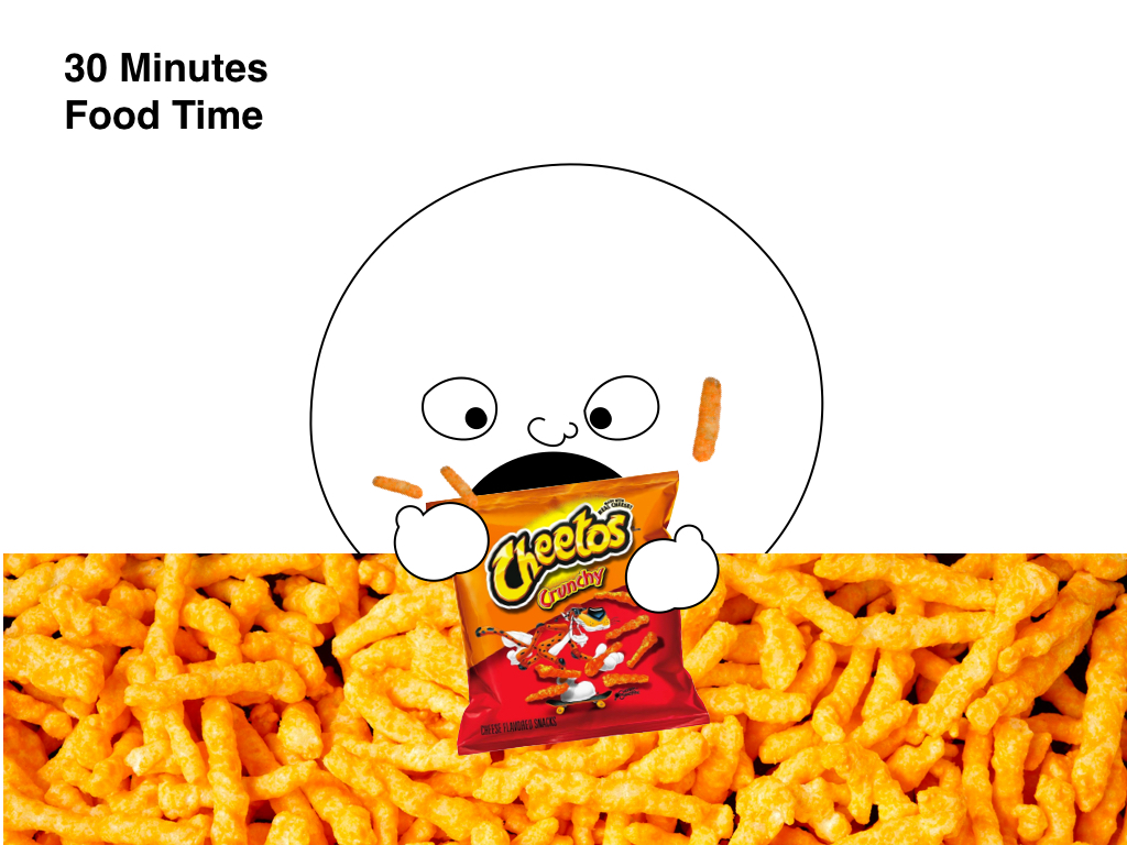 a giant cartoon head eating cheetos