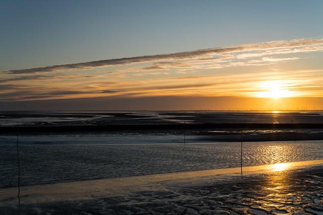 Sunrise in the Wadden sea