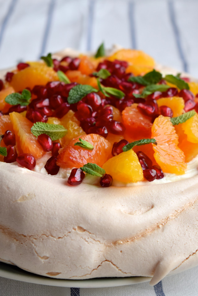 Winter Citrus Pavlova #pavlova #bloodorange #dessert #pomegranate #mint #meringue