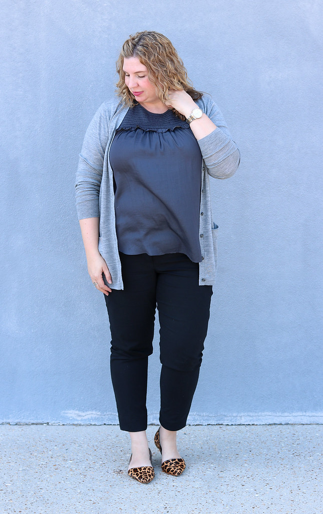 gray cardigan, gray shell, black pencil pants, leopard flats 6