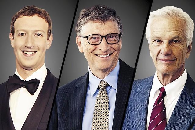 Mark Zuckerberg, Bill Gates e o brasileiro Jorge Paulo Lemann estão entre os mais ricos do mundo. - Créditos: Reprodução