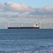 Leaving the Tees, past Redcar wind farm